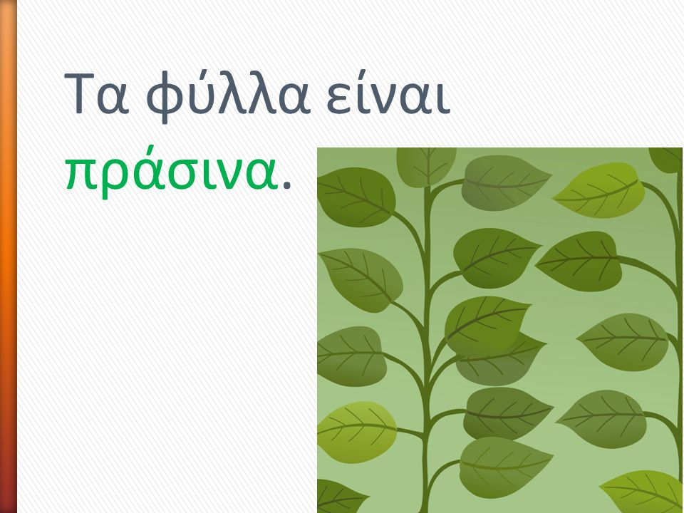 Τα φύλλα είναι πράσινα.