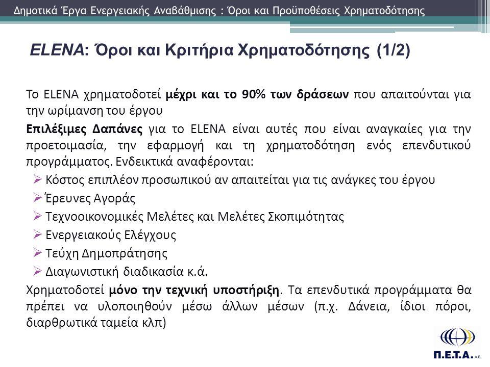 Το ELENA χρηματοδοτεί μέχρι και το 90% των δράσεων που απαιτούνται για την ωρίμανση του έργου Επιλέξιμες Δαπάνες για το ELENA είναι αυτές που είναι αν