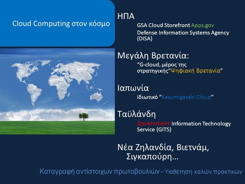 Cloud Computing στον κόσμο ΗΠΑ GSA Cloud Storefront Apps.gov Defense Information Systems Agency (DISA) Μεγάλη Βρετανία: G-cloud, μέρος της στρατηγικής Ψηφιακή Βρετανία Ιαπωνία Ιδιωτικό Kasumigaseki Cloud Ταϋλάνδη Government Information Technology Service (GITS) Νέα Ζηλανδία, Βιετνάμ, Σιγκαπούρη… Καταγραφή αντίστοιχων πρωτοβουλιών - Υιοθέτηση καλών πρακτικών