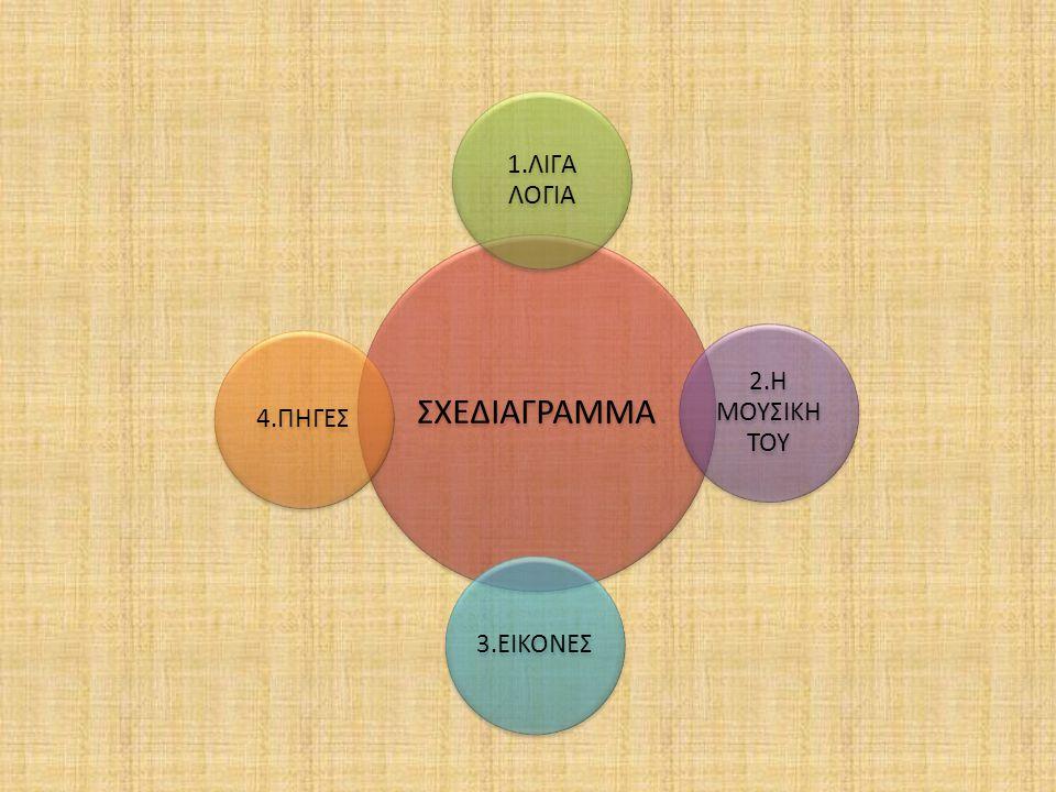 ΣΧΕΔΙΑΓΡΑΜΜΑ 1.ΛΙΓΑ ΛΟΓΙΑ 2.Η ΜΟΥΣΙΚΗ ΤΟΥ 3.ΕΙΚΟΝΕΣ4.ΠΗΓΕΣ
