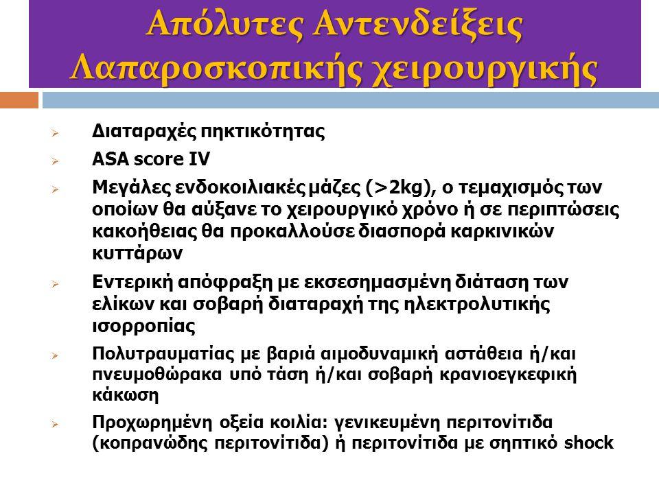 Απόλυτες Αντενδείξεις Λαπαροσκοπικής χειρουργικής  Διαταραχές πηκτικότητας  ASA score IV  Μεγάλες ενδοκοιλιακές μάζες (>2kg), ο τεμαχισμός των οποί