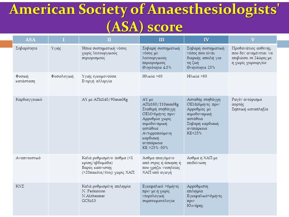 American Society of Anaesthesiologists' (ASA) score ASAIIIIIIIVV ΣοβαρότηταΥγιήςΉπια συστηματική νόσος χωρίς λειτουργικούς περιορισμούς Σοβαρή συστημα