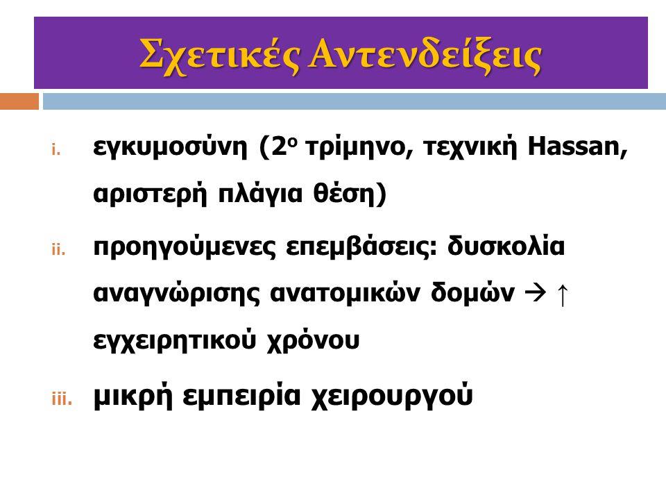 Σχετικές Αντενδείξεις i. εγκυμοσύνη (2 ο τρίμηνο, τεχνική Hassan, αριστερή πλάγια θέση) ii. προηγούμενες επεμβάσεις: δυσκολία αναγνώρισης ανατομικών δ
