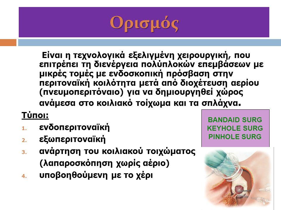 Αντενδείξεις:  βαρειά καρδιοαναπνευστική ανεπάρκεια  αιµοδυναµική αστάθεια (μη ελεγχόμενο αιμορραγικό shock)  σοβαρή κρανιοεγκεφαλική κάκωση  υπερκαπνικό κώμα  πνευμοθώρακας υπό τάση, λόγω τραυμάτων του διαφράγματος  µηχανικός ή παραλυτικός ειλεός µε µεγάλη διάταση του εντέρου  σηµαντικού βαθµού διαταραχές του µηχανισµού πήξεως  Προχωρημένη οξεία κοιλία: γενικευµένη περιτονίτιδα (κοπρανώδης περιτονίτιδα) ή περιτονίτιδα με σηπτικό shock  πολλαπλές προηγηθείσες χειρουργικές επεµβάσεις Λαπαροσκόπηση στην οξεία κοιλία και στο τραύμα