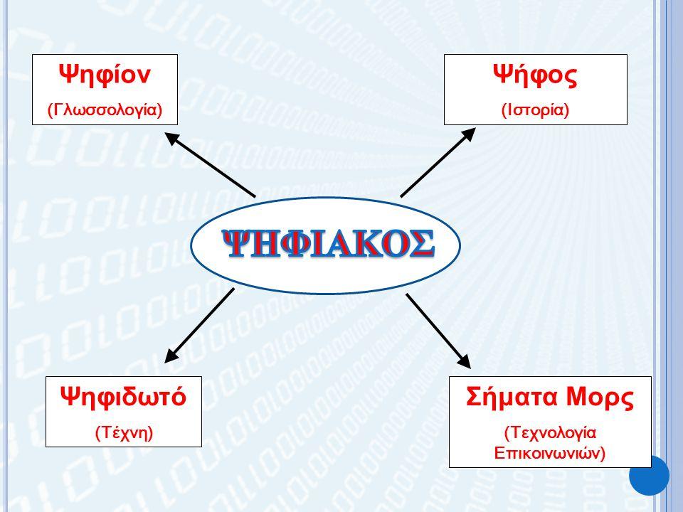 Ψηφίον (Γλωσσολογία) Ψήφος (Ιστορία) Ψηφιδωτό (Τέχνη) Σήματα Μορς (Τεχνολογία Επικοινωνιών)