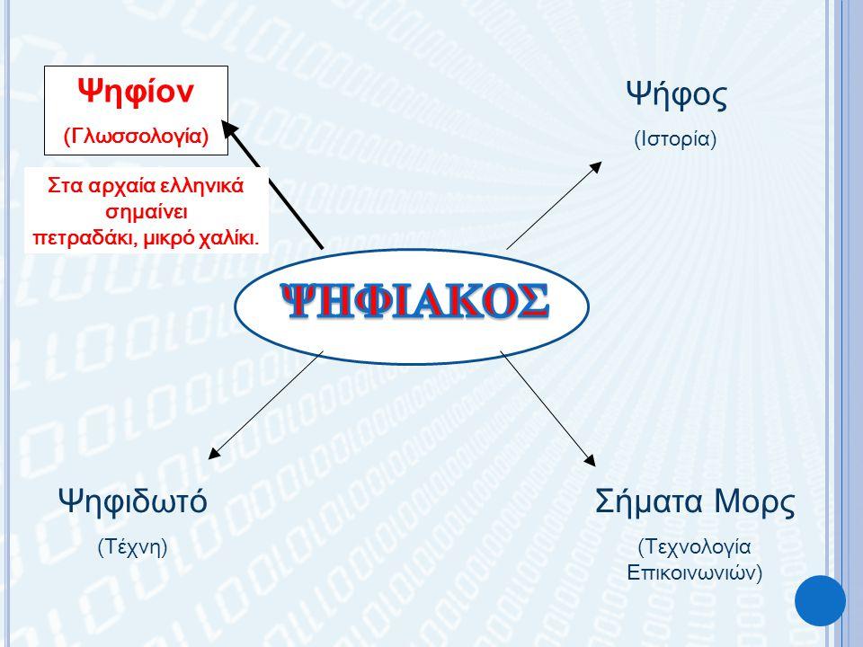 Ψηφίον (Γλωσσολογία) Ψήφος (Ιστορία) Ψηφιδωτό (Τέχνη) Σήματα Μορς (Τεχνολογία Επικοινωνιών) Στα αρχαία ελληνικά σημαίνει πετραδάκι, μικρό χαλίκι.