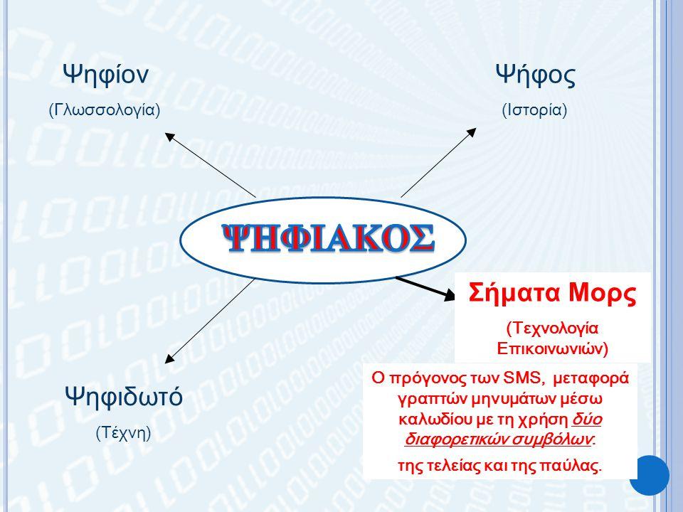 Ψηφίον (Γλωσσολογία) Ψήφος (Ιστορία) Ψηφιδωτό (Τέχνη) Σήματα Μορς (Τεχνολογία Επικοινωνιών) Ο πρόγονος των SMS, μεταφορά γραπτών μηνυμάτων μέσω καλωδίου με τη χρήση δύο διαφορετικών συμβόλων: της τελείας και της παύλας.