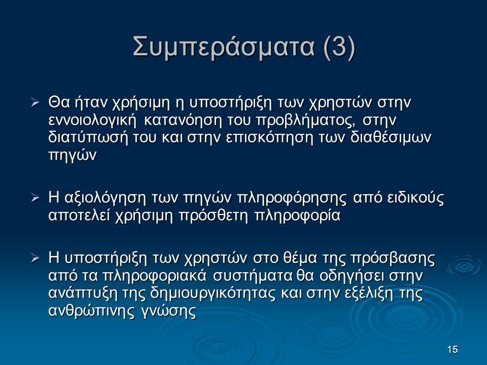 15 Συμπεράσματα (3)  Θα ήταν χρήσιμη η υποστήριξη των χρηστών στην εννοιολογική κατανόηση του προβλήματος, στην διατύπωσή του και στην επισκόπηση των
