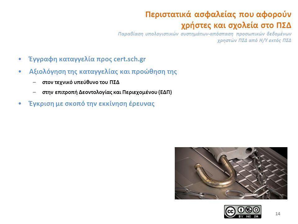 Περιστατικά ασφαλείας που αφορούν χρήστες και σχολεία στο ΠΣΔ Παραβίαση υπολογιστικών συστημάτων-απόσπαση προσωπικών δεδομένων χρηστών ΠΣΔ από Η/Υ εκτός ΠΣΔ Έγγραφη καταγγελία προς cert.sch.gr Αξιολόγηση της καταγγελίας και προώθηση της –στον τεχνικό υπεύθυνο του ΠΣΔ –στην επιτροπή Δεοντολογίας και Περιεχομένου (ΕΔΠ) Έγκριση με σκοπό την εκκίνηση έρευνας 14