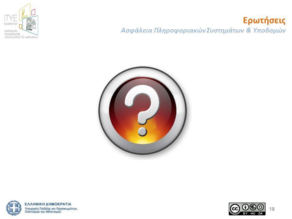 Ερωτήσεις Ασφάλεια Πληροφοριακών Συστημάτων & Υποδομών 19