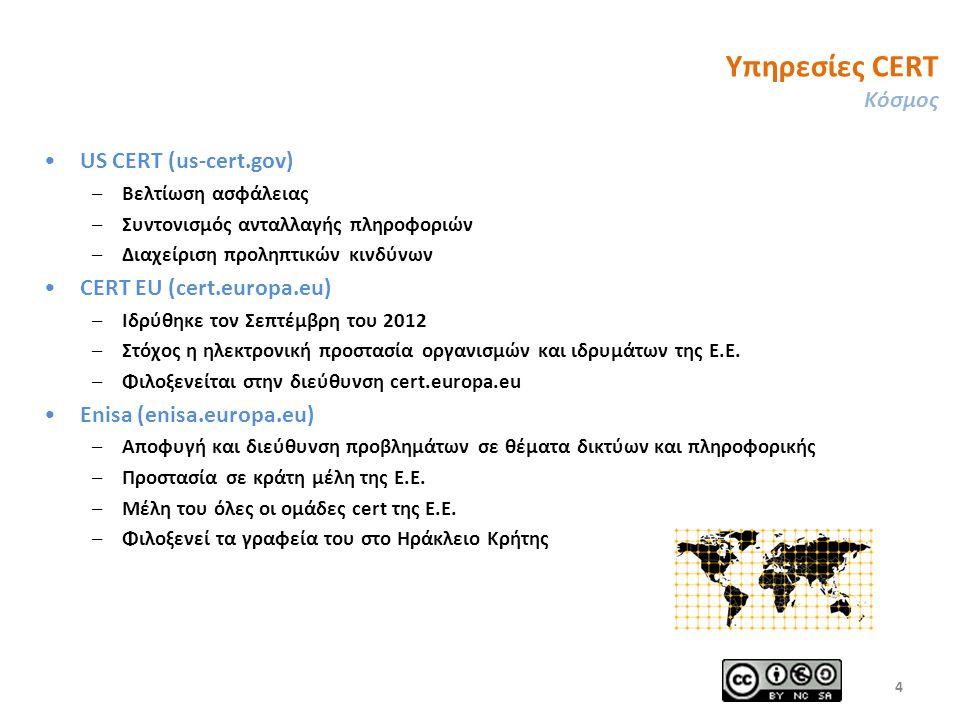 Υπηρεσίες CERT Κόσμος US CERT (us-cert.gov) –Βελτίωση ασφάλειας –Συντονισμός ανταλλαγής πληροφοριών –Διαχείριση προληπτικών κινδύνων CERT EU (cert.europa.eu) –Ιδρύθηκε τον Σεπτέμβρη του 2012 –Στόχος η ηλεκτρονική προστασία οργανισμών και ιδρυμάτων της Ε.Ε.