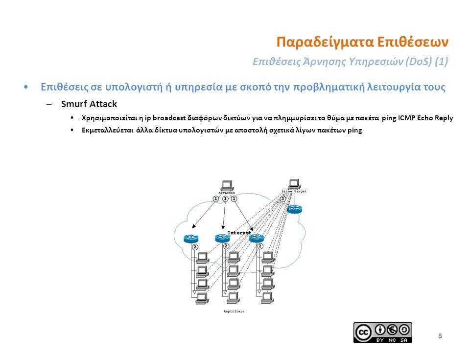 Παραδείγματα Επιθέσεων Επιθέσεις Άρνησης Υπηρεσιών (DoS) (1) Επιθέσεις σε υπολογιστή ή υπηρεσία με σκοπό την προβληματική λειτουργία τους –Smurf Attack Χρησιμοποιείται η ip broadcast διαφόρων δικτύων για να πλημμυρίσει το θύμα με πακέτα ping ICMP Echo Reply Εκμεταλλεύεται άλλα δίκτυα υπολογιστών με αποστολή σχετικά λίγων πακέτων ping 8