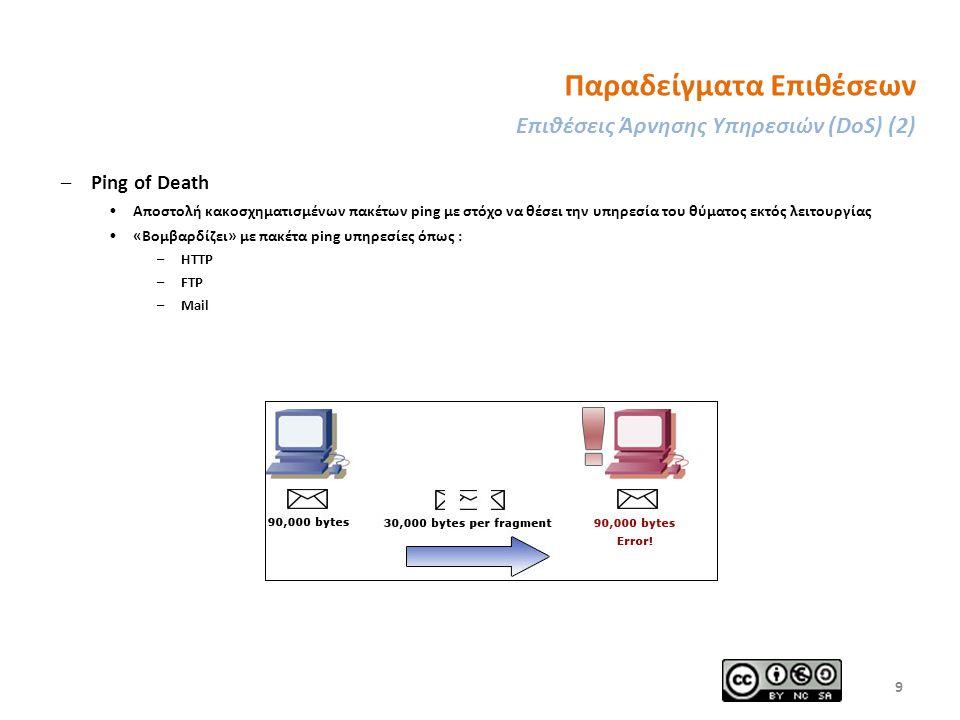 Παραδείγματα Επιθέσεων Επιθέσεις Άρνησης Υπηρεσιών (DoS) (2) –Ping of Death Αποστολή κακοσχηματισμένων πακέτων ping με στόχο να θέσει την υπηρεσία του θύματος εκτός λειτουργίας «Βομβαρδίζει» με πακέτα ping υπηρεσίες όπως : –HTTP –FTP –Mail 9