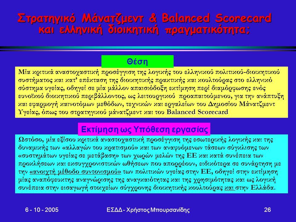 6 - 10 - 2005ΕΣΔΔ - Χρήστος Μπουρσανίδης26 Στρατηγικό Μάνατζμεντ & Balanced Scorecard και ελληνική διοικητική πραγματικότητα; Balanced Scorecard Μία κ