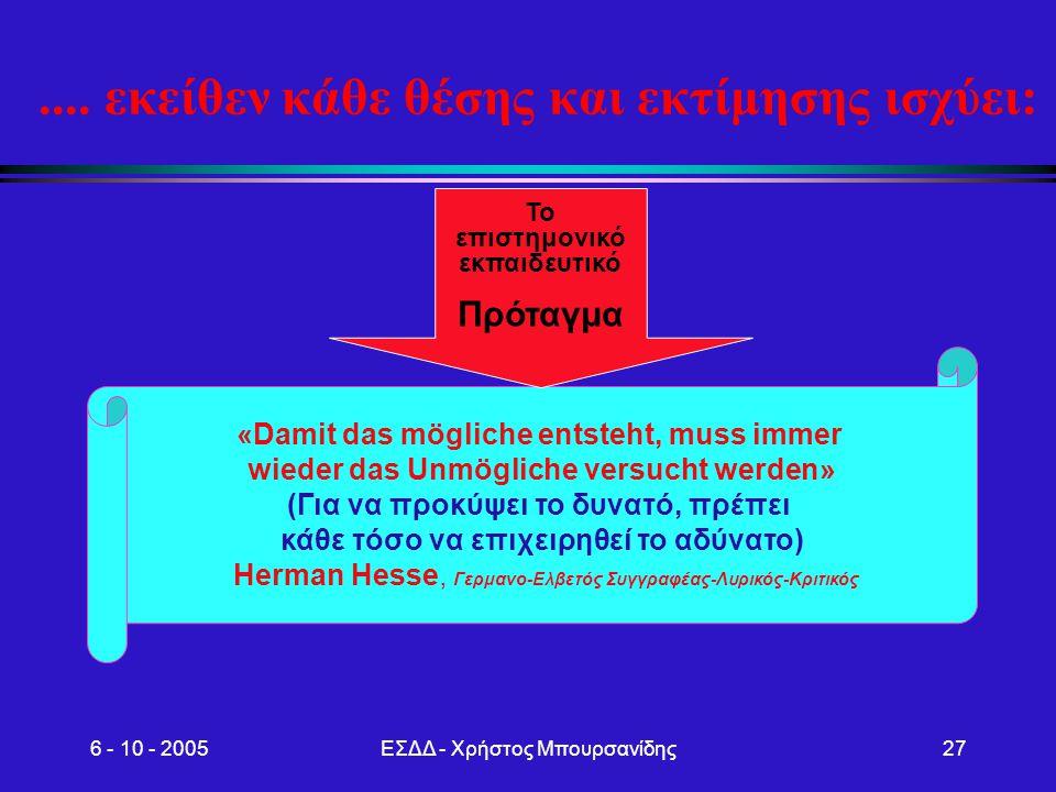 6 - 10 - 2005ΕΣΔΔ - Χρήστος Μπουρσανίδης27.... εκείθεν κάθε θέσης και εκτίμησης ισχύει: «Damit das mögliche entsteht, muss immer wieder das Unmögliche