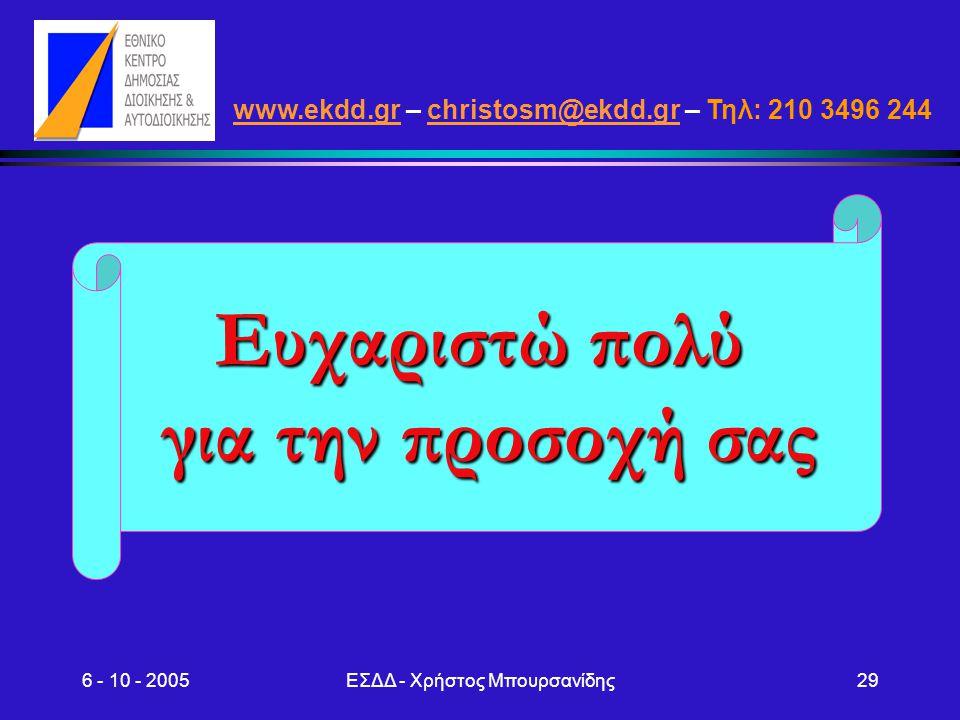 6 - 10 - 2005ΕΣΔΔ - Χρήστος Μπουρσανίδης29 www.ekdd.grwww.ekdd.gr – christosm@ekdd.gr – Τηλ: 210 3496 244christosm@ekdd.gr Ευχαριστώ πολύ για την προσ