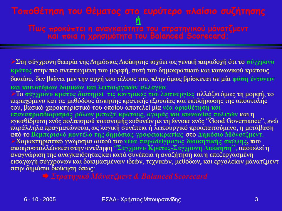 6 - 10 - 2005ΕΣΔΔ - Χρήστος Μπουρσανίδης14 Μεθοδολογία ανάπτυξης και υλοποίησης BSC ( Μοντέλο 5 Φάσεων) Διασφάλιση Διαρκούς Εφαρμογής BSC Ενσωμάτωση BSC στο σύστημα Μάνατζμεντ Διοίκηση προσωπικού με το BSC Συντονισμός BSC με EFQM Σύνδεση BSC με τη διαχείριση Ρίσκων Υποστήριξη BSC με IT Roll-out Managen Εισαγωγή BSC στην Διοικητική Υπηρεσία Κατέβασμα του BSC- Κάθετος συντο- νισμός στόχων Οριζόντιος συντονισμός στόχων εντός επιπέδων Διασφάλιση ποιότητας και τεκμηρίωση αποτελεσμάτων Ανάπτυξη BSC Διατύπωση στρατηγικών στόχων Διαμόρφωση Χάρτη Στρατη- γικής Επιλογή μετρήσιμων μεγεθών Καθορισμός αριθμο- δεικτών Προσδιορισμός στρατηγικών δράσεων Αποσαφήνιση Στρατηγικών Βάσεων Εξέταση στρατηγικών προϋπο- θέσεων και όρων Προσδι- ορισμός στρατηγικών κατευθύνσεων Ενσωμάτωση BSC στην ανάπτυξη Στρατηγικής Δημιουργία Οργανωτικού Πλαισίου Προσδιορισμός αρχιτεκτονικής BSC Καθορισμός οργάνωσης Έργου Διάπλαση σχεδίου ροής Έργου Διασφάλιση Πληροφόρησης Επικοινωνίας και Συμμετοχής Επισήμανση κριτικών παραγόντων επιτυχίας