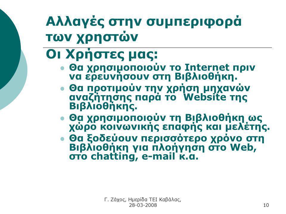 Γ. Ζάχος, Ημερίδα ΤΕΙ Καβάλας, 28-03-200810 Αλλαγές στην συμπεριφορά των χρηστών Οι Χρήστες μας: Θα χρησιμοποιούν το Internet πριν να ερευνήσουν στη Β