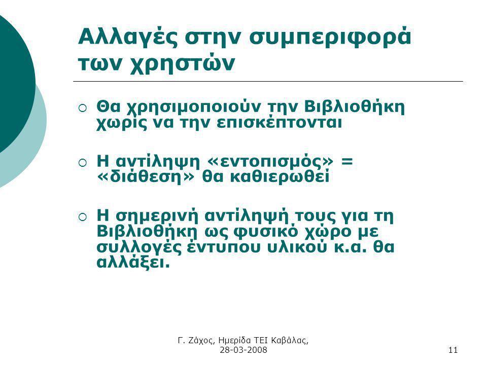 Γ. Ζάχος, Ημερίδα ΤΕΙ Καβάλας, 28-03-200811 Αλλαγές στην συμπεριφορά των χρηστών  Θα χρησιμοποιούν την Βιβλιοθήκη χωρίς να την επισκέπτονται  Η αντί