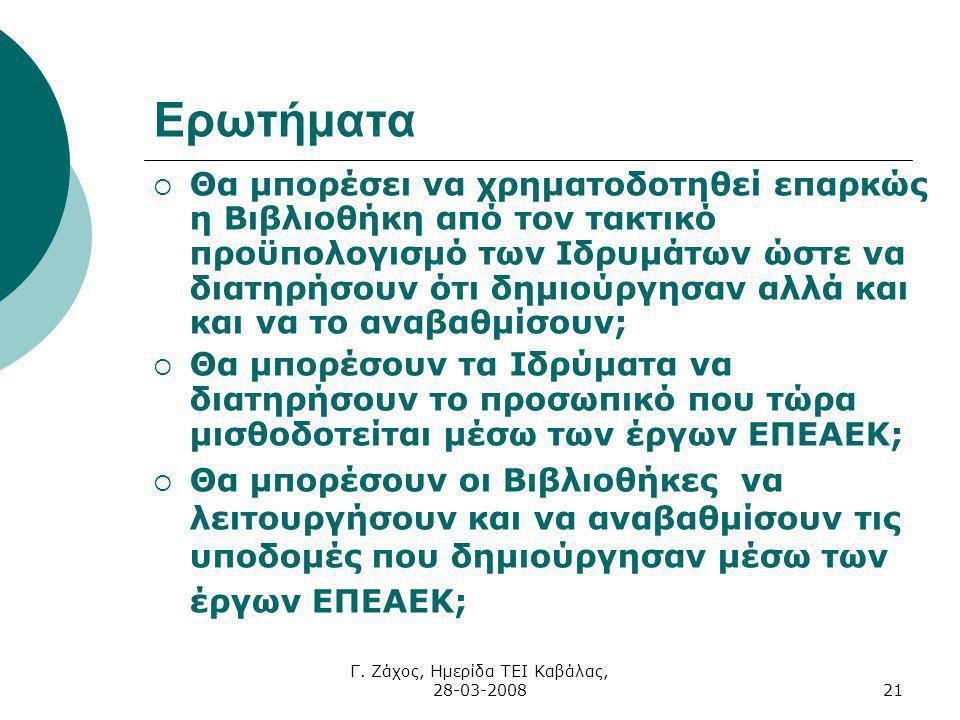 Γ. Ζάχος, Ημερίδα ΤΕΙ Καβάλας, 28-03-200821 Ερωτήματα  Θα μπορέσει να χρηματοδοτηθεί επαρκώς η Βιβλιοθήκη από τον τακτικό προϋπολογισμό των Ιδρυμάτων
