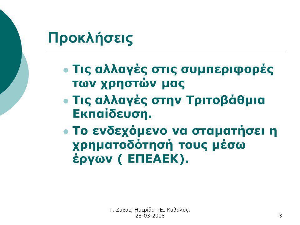Γ. Ζάχος, Ημερίδα ΤΕΙ Καβάλας, 28-03-20083 Προκλήσεις Τις αλλαγές στις συμπεριφορές των χρηστών μας Τις αλλαγές στην Τριτοβάθμια Εκπαίδευση. Το ενδεχό
