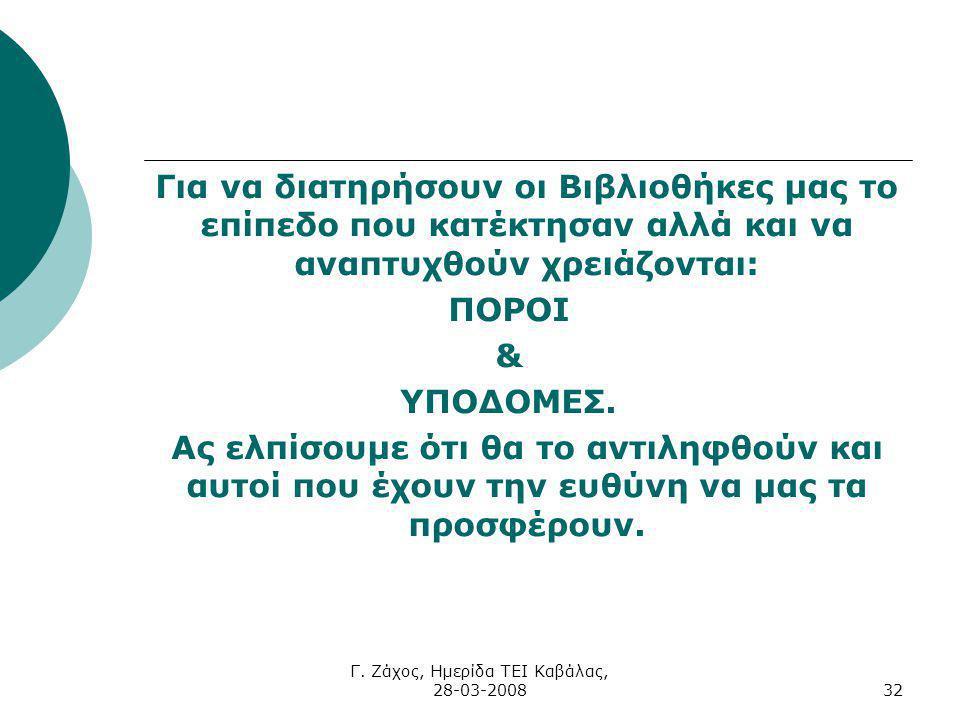 Γ. Ζάχος, Ημερίδα ΤΕΙ Καβάλας, 28-03-200832 Για να διατηρήσουν οι Βιβλιοθήκες μας το επίπεδο που κατέκτησαν αλλά και να αναπτυχθούν χρειάζονται: ΠΟΡΟΙ