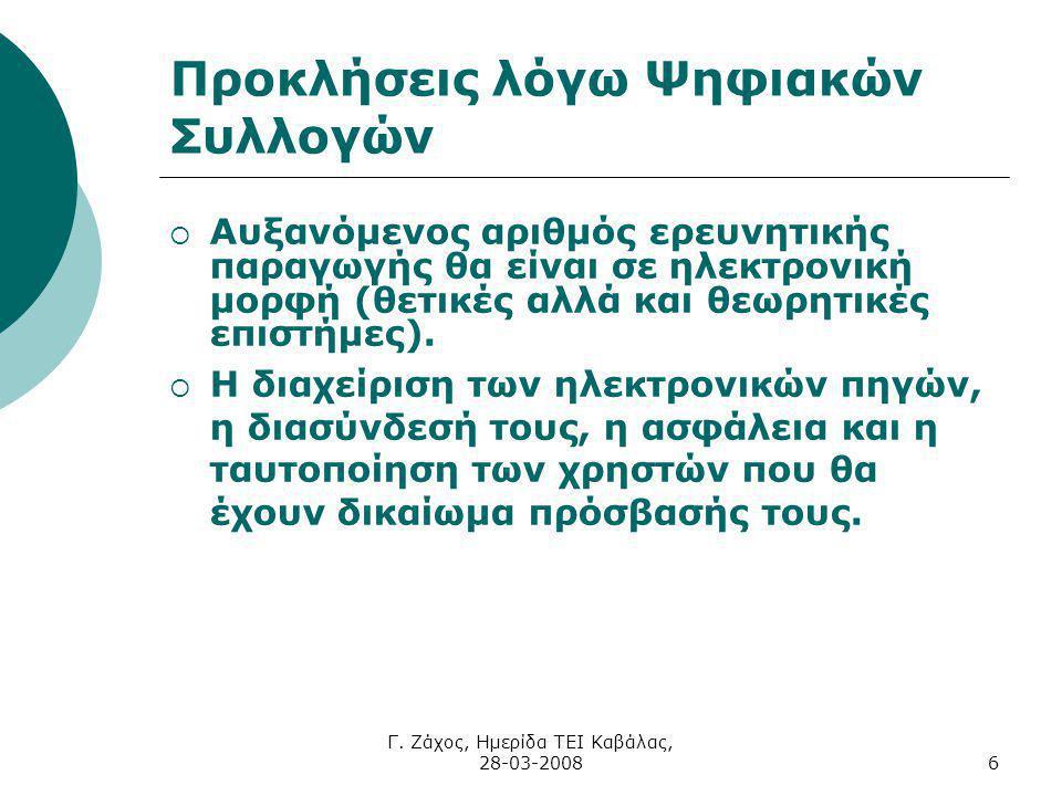 Γ. Ζάχος, Ημερίδα ΤΕΙ Καβάλας, 28-03-20086 Προκλήσεις λόγω Ψηφιακών Συλλογών  Αυξανόμενος αριθμός ερευνητικής παραγωγής θα είναι σε ηλεκτρονική μορφή