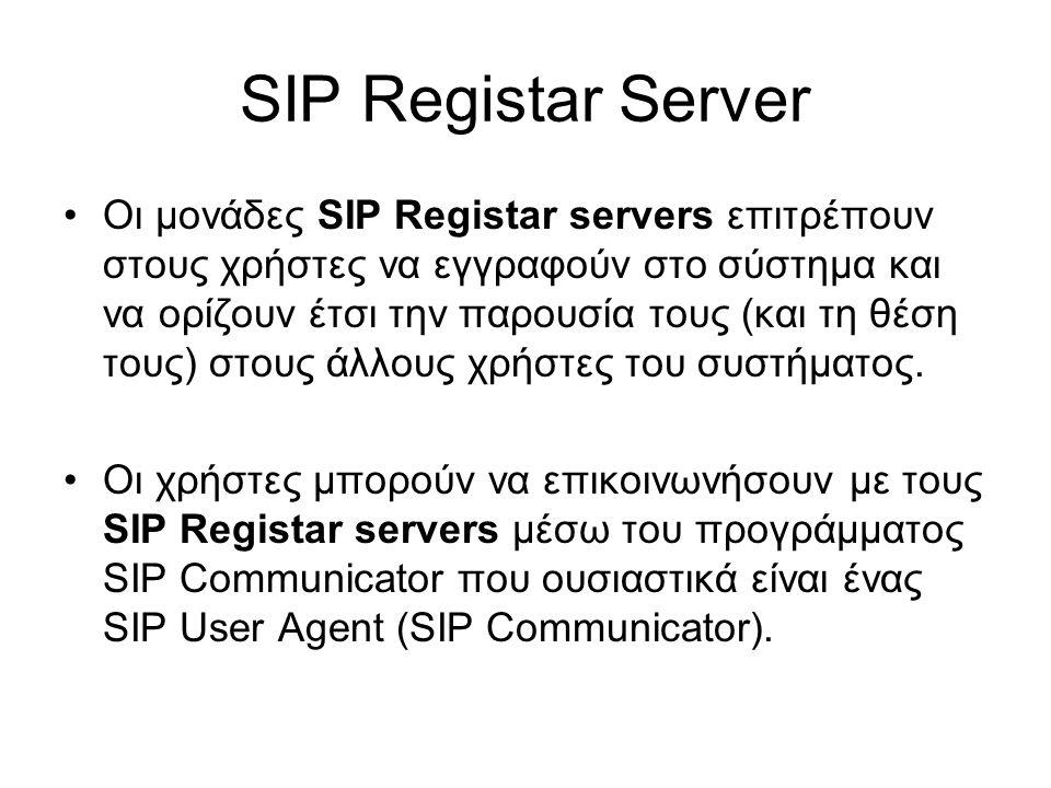 SIP Registar Server Oι μονάδες SIP Registar servers επιτρέπουν στους χρήστες να εγγραφούν στο σύστημα και να ορίζουν έτσι την παρουσία τους (και τη θέση τους) στους άλλους χρήστες του συστήματος.