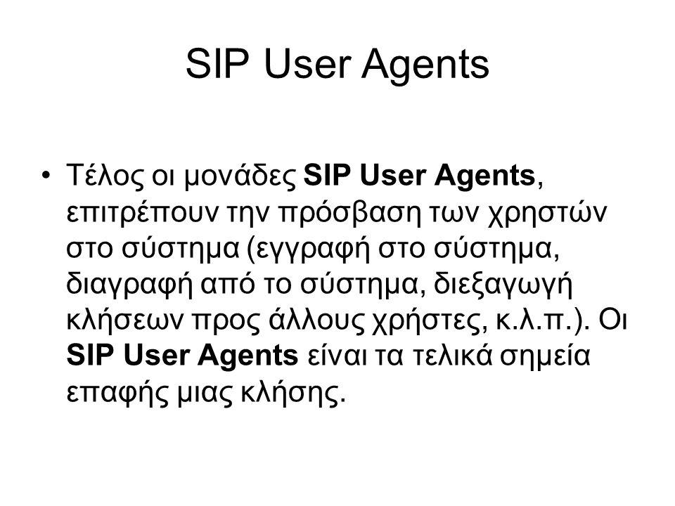 SIP User Agents Τέλος οι μονάδες SIP User Agents, επιτρέπουν την πρόσβαση των χρηστών στο σύστημα (εγγραφή στο σύστημα, διαγραφή από το σύστημα, διεξαγωγή κλήσεων προς άλλους χρήστες, κ.λ.π.).