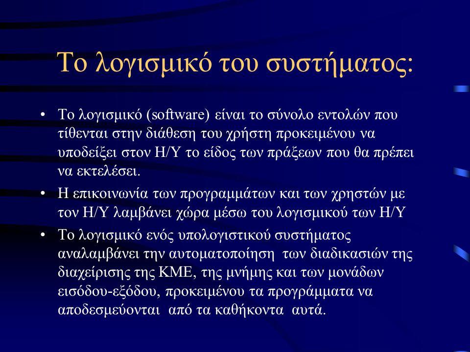 Το λογισμικό του συστήματος: Το λογισμικό (software) είναι το σύνολο εντολών που τίθενται στην διάθεση του χρήστη προκειμένου να υποδείξει στον Η/Υ το