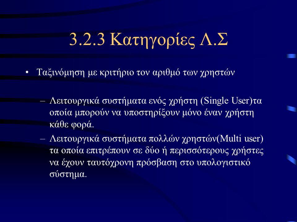 3.2.3 Κατηγορίες Λ.Σ Ταξινόμηση με κριτήριο τον αριθμό των χρηστών –Λειτουργικά συστήματα ενός χρήστη (Single User)τα οποία μπορούν να υποστηρίξουν μό