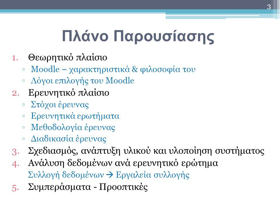 Πλάνο Παρουσίασης 1.Θεωρητικό πλαίσιο ▫Moodle – χαρακτηριστικά & φιλοσοφία του ▫Λόγοι επιλογής του Moodle 2.Ερευνητικό πλαίσιο ▫Στόχοι έρευνας ▫Ερευνη