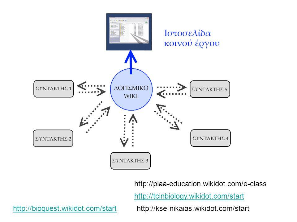 http://tcinbiology.wikidot.com/start http://plaa-education.wikidot.com/e-class http://kse-nikaias.wikidot.com/starthttp://bioquest.wikidot.com/start