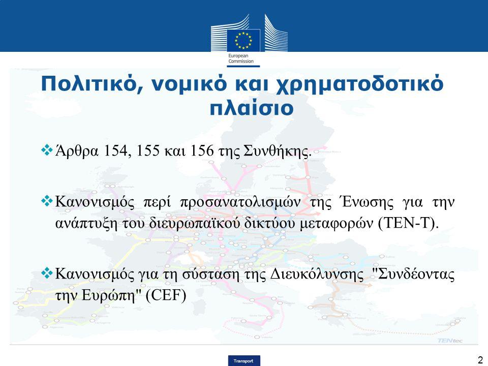 Transport 2 Πολιτικό, νομικό και χρηματοδοτικό πλαίσιο  Άρθρα 154, 155 και 156 της Συνθήκης.  Κανονισμός περί προσανατολισμών της Ένωσης για την ανά