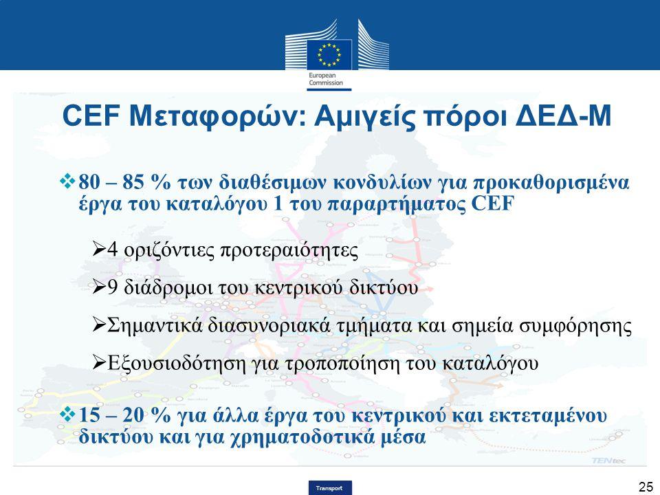 Transport 25 CEF Μεταφορών: Αμιγείς πόροι ΔΕΔ-Μ  80 – 85 % των διαθέσιμων κονδυλίων για προκαθορισμένα έργα του καταλόγου 1 του παραρτήματος CEF  4