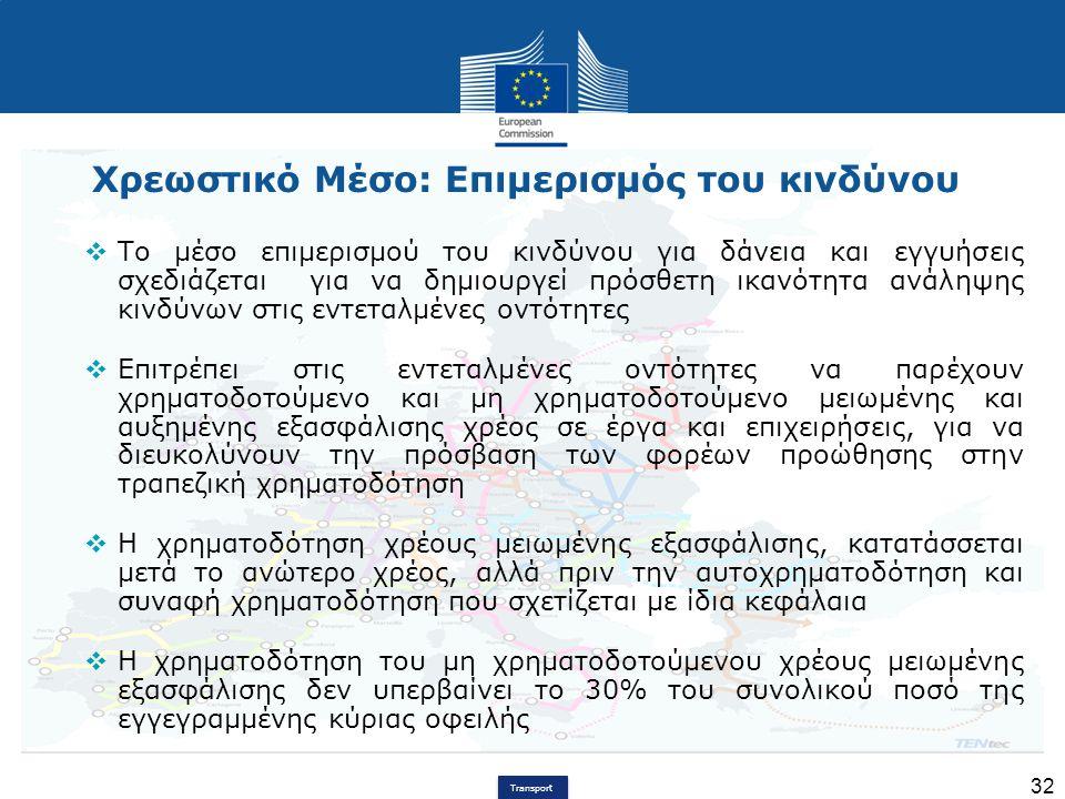 Transport 32 Χρεωστικό Μέσο: Επιμερισμός του κινδύνου  Το μέσο επιμερισμού του κινδύνου για δάνεια και εγγυήσεις σχεδιάζεται για να δημιουργεί πρόσθε
