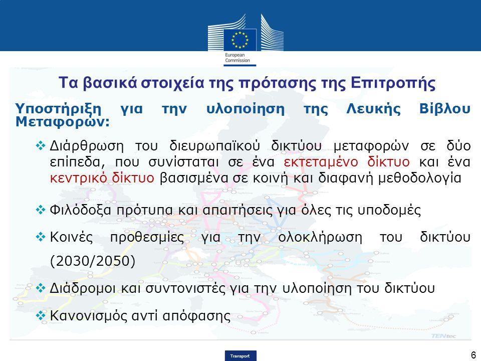 Transport 6 Τα βασικά στοιχεία της πρότασης της Επιτροπής Υποστήριξη για την υλοποίηση της Λευκής Βίβλου Μεταφορών:  Διάρθρωση του διευρωπαϊκού δικτύ