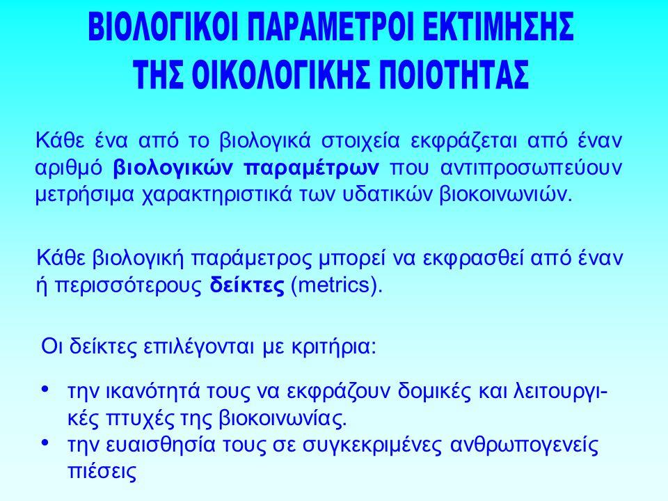 Κάθε ένα από το βιολογικά στοιχεία εκφράζεται από έναν αριθμό βιολογικών παραμέτρων που αντιπροσωπεύουν μετρήσιμα χαρακτηριστικά των υδατικών βιοκοινωνιών.