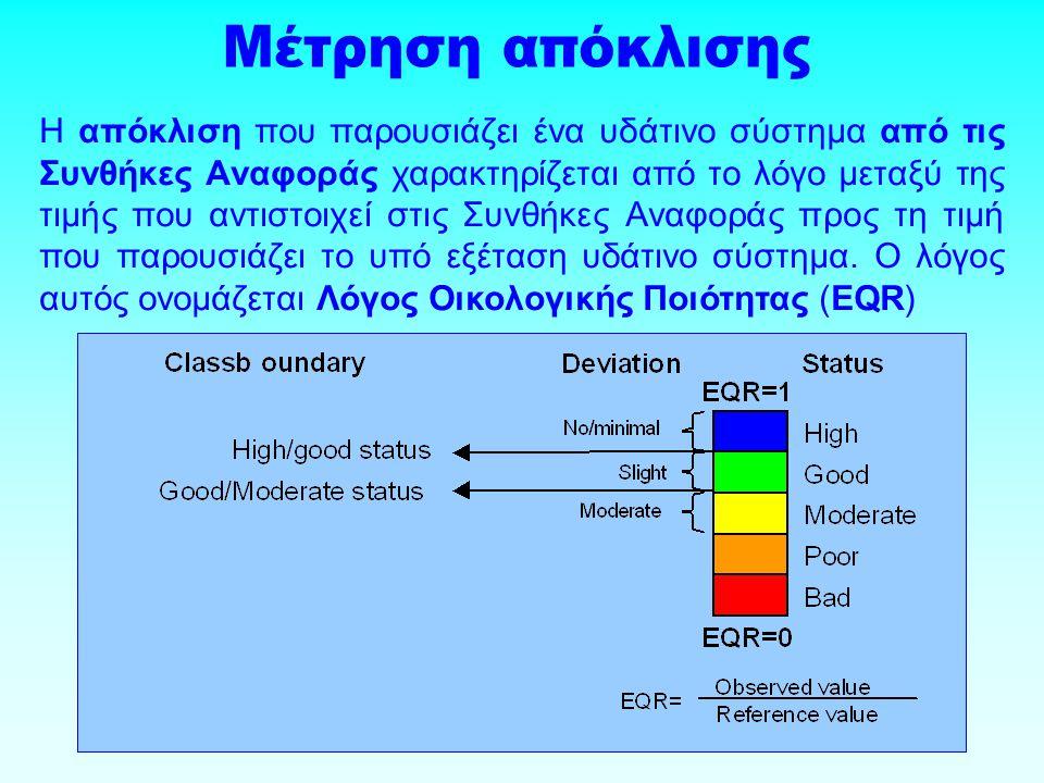 Η απόκλιση που παρουσιάζει ένα υδάτινο σύστημα από τις Συνθήκες Αναφοράς χαρακτηρίζεται από το λόγο μεταξύ της τιμής που αντιστοιχεί στις Συνθήκες Αναφοράς προς τη τιμή που παρουσιάζει το υπό εξέταση υδάτινο σύστημα.