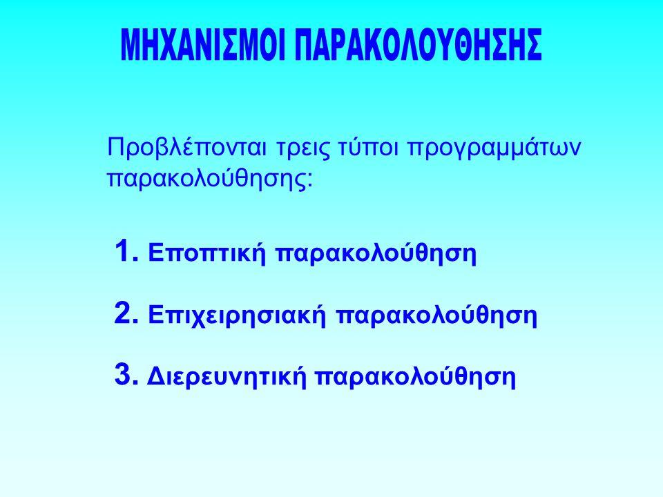 Προβλέπονται τρεις τύποι προγραμμάτων παρακολούθησης: 1.