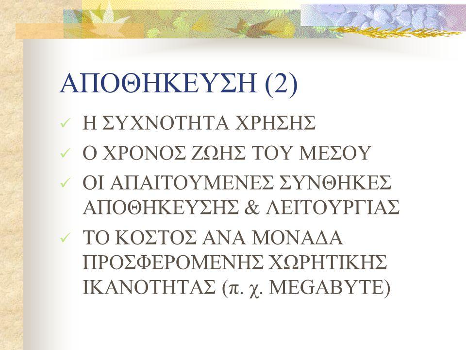 ΑΠΟΘΗΚΕΥΣΗ (2) Η ΣΥΧΝΟΤΗΤΑ ΧΡΗΣΗΣ Ο ΧΡΟΝΟΣ ΖΩΗΣ ΤΟΥ ΜΕΣΟΥ ΟΙ ΑΠΑΙΤΟΥΜΕΝΕΣ ΣΥΝΘΗΚΕΣ ΑΠΟΘΗΚΕΥΣΗΣ & ΛΕΙΤΟΥΡΓΙΑΣ ΤΟ ΚΟΣΤΟΣ ΑΝΑ ΜΟΝΑΔΑ ΠΡΟΣΦΕΡΟΜΕΝΗΣ ΧΩΡΗΤΙΚΗΣ ΙΚΑΝΟΤΗΤΑΣ (π.