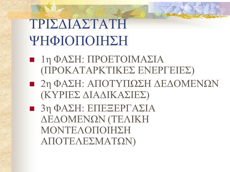 ΤΡΙΣΔΙΑΣΤΑΤΗ ΨΗΦΙΟΠΟΙΗΣΗ 1η ΦΑΣΗ: ΠΡΟΕΤΟΙΜΑΣΙΑ (ΠΡΟΚΑΤΑΡΚΤΙΚΕΣ ΕΝΕΡΓΕΙΕΣ) 2η ΦΑΣΗ: ΑΠΟΤΥΠΩΣΗ ΔΕΔΟΜΕΝΩΝ (ΚΥΡΙΕΣ ΔΙΑΔΙΚΑΣΙΕΣ) 3η ΦΑΣΗ: ΕΠΕΞΕΡΓΑΣΙΑ ΔΕΔΟΜΕΝΩΝ (ΤΕΛΙΚΗ ΜΟΝΤΕΛΟΠΟΙΗΣΗ ΑΠΟΤΕΛΕΣΜΑΤΩΝ)