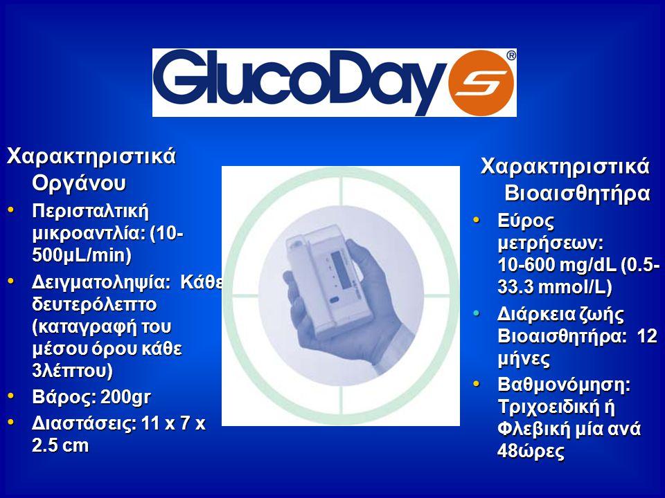 Χαρακτηριστικά Βιοαισθητήρα Εύρος μετρήσεων: 10-600 mg/dL (0.5- 33.3 mmol/L) Εύρος μετρήσεων: 10-600 mg/dL (0.5- 33.3 mmol/L) Διάρκεια ζωής Βιοαισθητήρα: 12 μήνες Διάρκεια ζωής Βιοαισθητήρα: 12 μήνες Βαθμονόμηση: Τριχοειδική ή Φλεβική μία ανά 48ώρες Βαθμονόμηση: Τριχοειδική ή Φλεβική μία ανά 48ώρες Χαρακτηριστικά Οργάνου Περισταλτική μικροαντλία: (10- 500μL/min) Περισταλτική μικροαντλία: (10- 500μL/min) Δειγματοληψία: Κάθε δευτερόλεπτο (καταγραφή του μέσου όρου κάθε 3λέπτου) Δειγματοληψία: Κάθε δευτερόλεπτο (καταγραφή του μέσου όρου κάθε 3λέπτου) Βάρος: 200gr Βάρος: 200gr Διαστάσεις: 11 x 7 x 2.5 cm Διαστάσεις: 11 x 7 x 2.5 cm