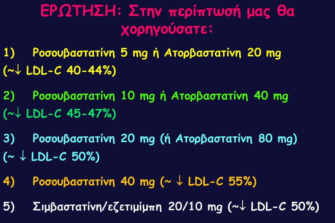 1) Ροσουβαστατίνη 5 mg ή Ατορβαστατίνη 20 mg (~  LDL-C 40-44%) 2) Ροσουβαστατίνη 10 mg ή Ατορβαστατίνη 40 mg (~  LDL-C 45-47%) 3) Ροσουβαστατίνη 20