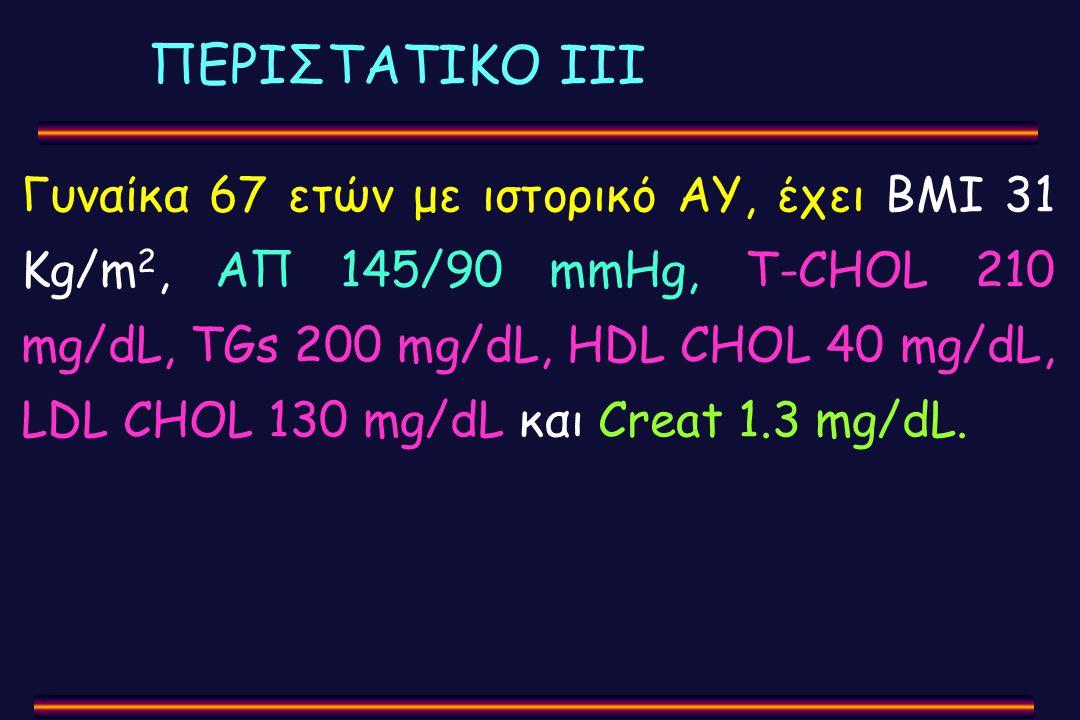 ΠΕΡΙΣΤΑΤΙΚΟ ΙΙΙ Γυναίκα 67 ετών με ιστορικό ΑΥ, έχει BMI 31 Kg/m 2, ΑΠ 145/90 mmHg, Τ-CHOL 210 mg/dL, TGs 200 mg/dL, HDL CHOL 40 mg/dL, LDL CHOL 130 m