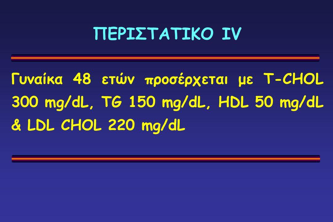 ΠΕΡΙΣΤΑΤΙΚΟ ΙV Γυναίκα 48 ετών προσέρχεται με T-CHOL 300 mg/dL, TG 150 mg/dL, HDL 50 mg/dL & LDL CHOL 220 mg/dL