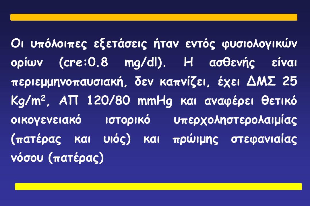 Οι υπόλοιπες εξετάσεις ήταν εντός φυσιολογικών ορίων (cre:0.8 mg/dl). Η ασθενής είναι περιεμμηνοπαυσιακή, δεν καπνίζει, έχει ΔΜΣ 25 Kg/m 2, ΑΠ 120/80