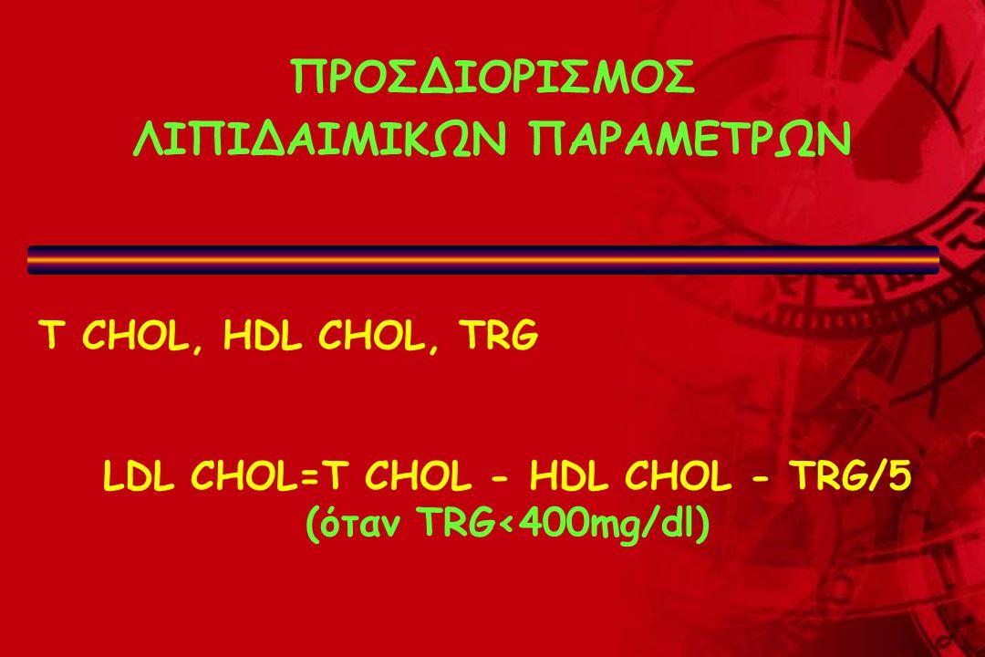 ΠΡΟΣΔΙΟΡΙΣΜΟΣ ΛΙΠΙΔΑΙΜΙΚΩΝ ΠΑΡΑΜΕΤΡΩΝ T CHOL, HDL CHOL, TRG LDL CHOL=T CHOL - HDL CHOL - TRG/5 (όταν TRG<400mg/dl)