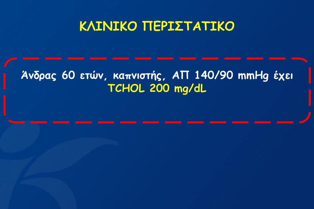 Άνδρας 60 ετών, καπνιστής, ΑΠ 140/90 mmHg έχει ΤCHOL 200 mg/dL ΚΛΙΝΙΚΟ ΠΕΡΙΣΤΑΤΙΚΟ