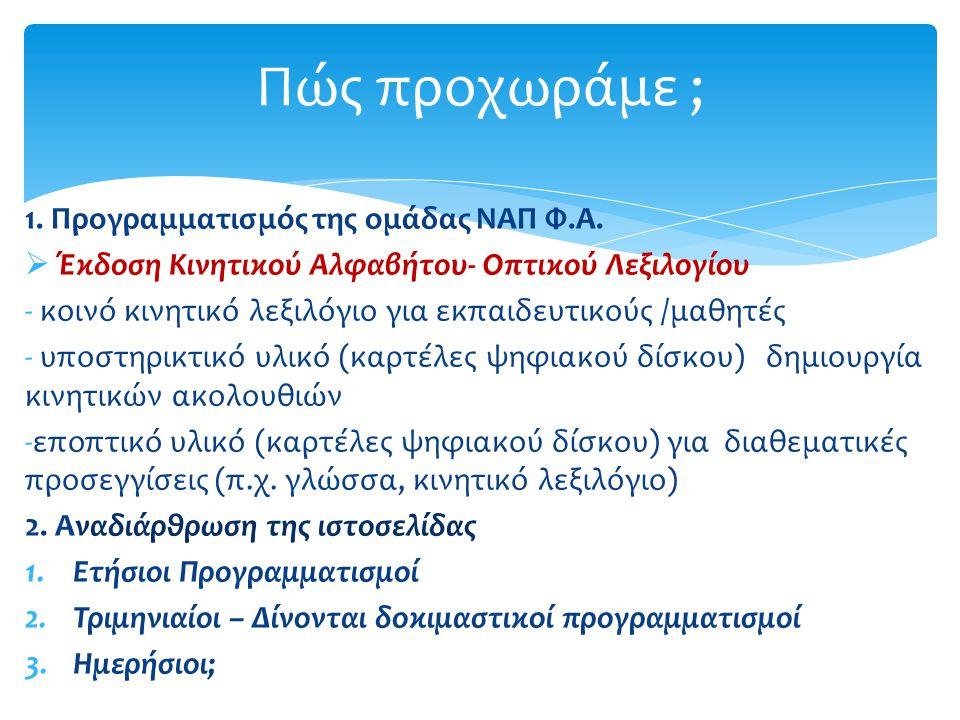 Πώς προχωράμε ; 1. Προγραμματισμός της ομάδας ΝΑΠ Φ.Α.  Έκδοση Κινητικού Αλφαβήτου- Οπτικού Λεξιλογίου - κοινό κινητικό λεξιλόγιο για εκπαιδευτικούς